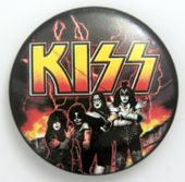 Kiss - 'Group Flames' Large Button Badge